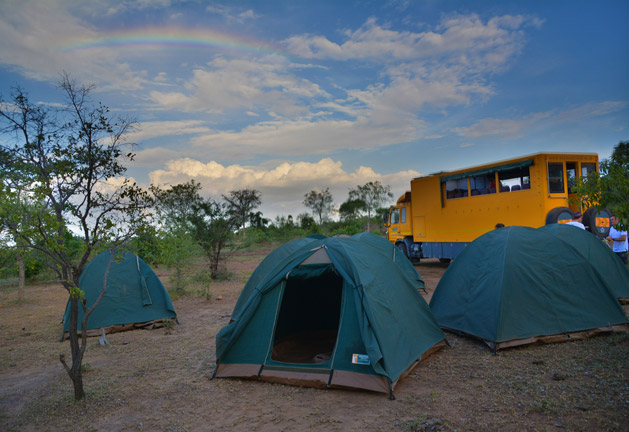 A rainbow over our bush camp in Tanzania.