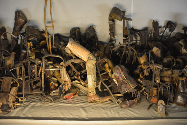 Artificial limbs of victims that would have certainly been killed on arrival.  Victims were separated into those who could work and those who couldn't.  If someone was handicapped, they were sent directly to the gas chamber.