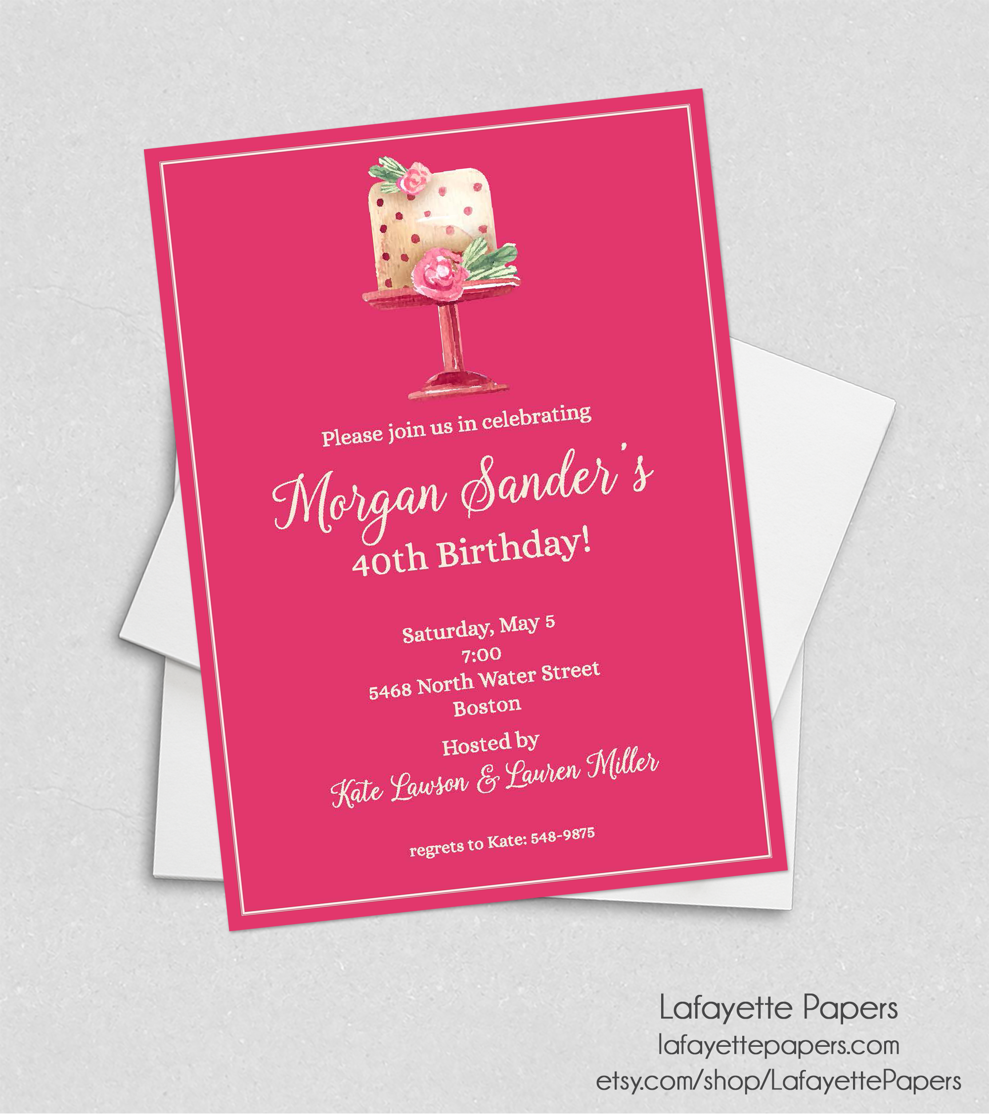 Lafayette Papers Birthday Party Invitation