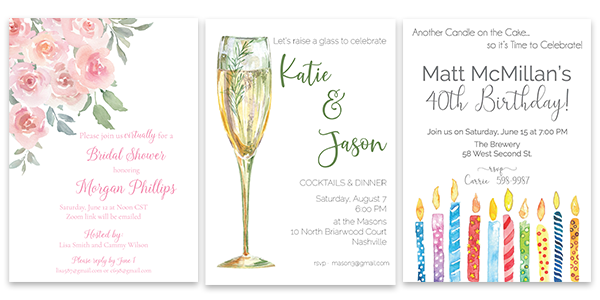Party Invitations for all occasions
