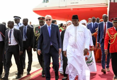 President Erdogan arrives in Banjul for historic visit