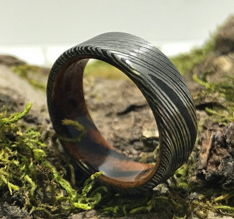 Damascus steel and wood wedding band