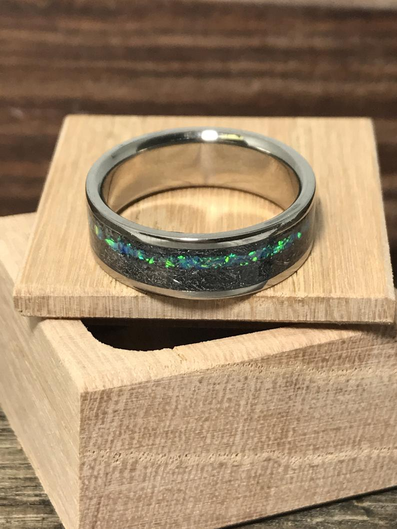 Meteorite and Blue opal ring