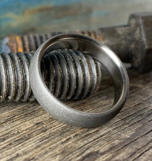 Sandblasted Titanium Ring