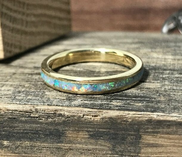 Gold and white opal wedding band