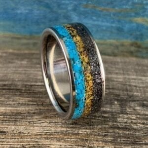 Dinosaur bone ring with Meteorite and turquoise
