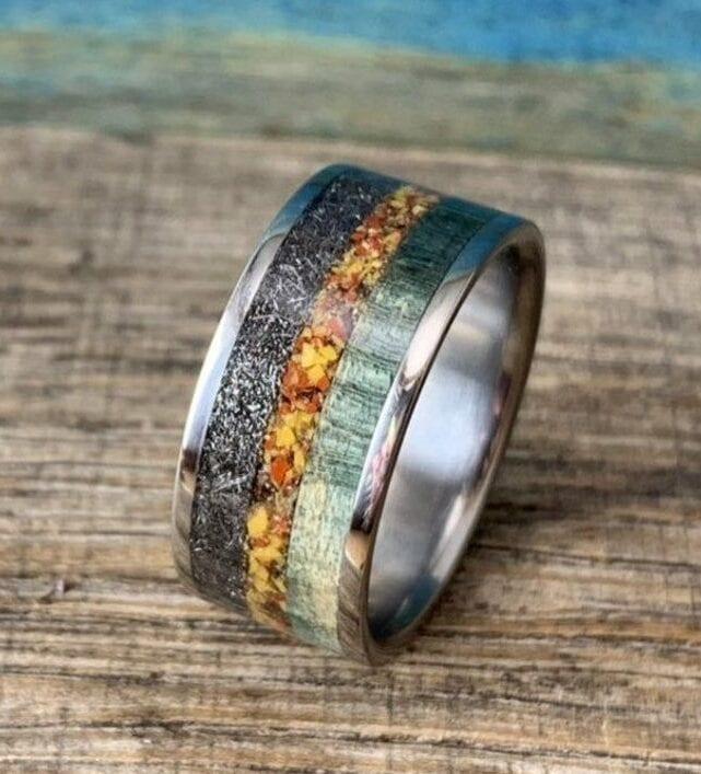 Meteorite Dinosaur bone ring