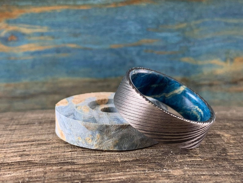 Damascus steel ring with Blue box elder