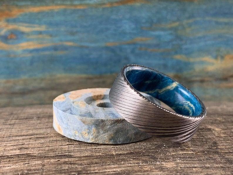 Damascus steel ring with Blue box elder