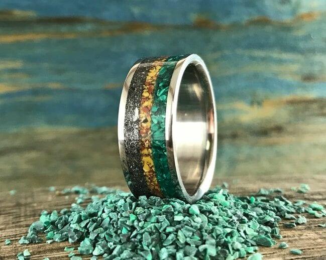 Malachite Ring With Meteorite