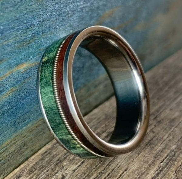 Men's Guitar String Ring with Wood