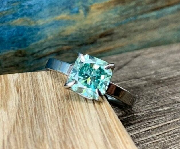 Blue Moissanite Engagement Ring