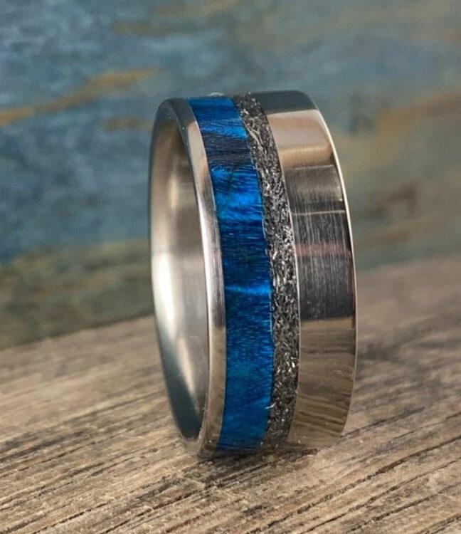 Off set Meteorite and blue box elder ring