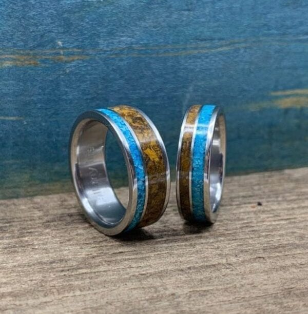 Turquoise and Tigers Eye Wedding Bands