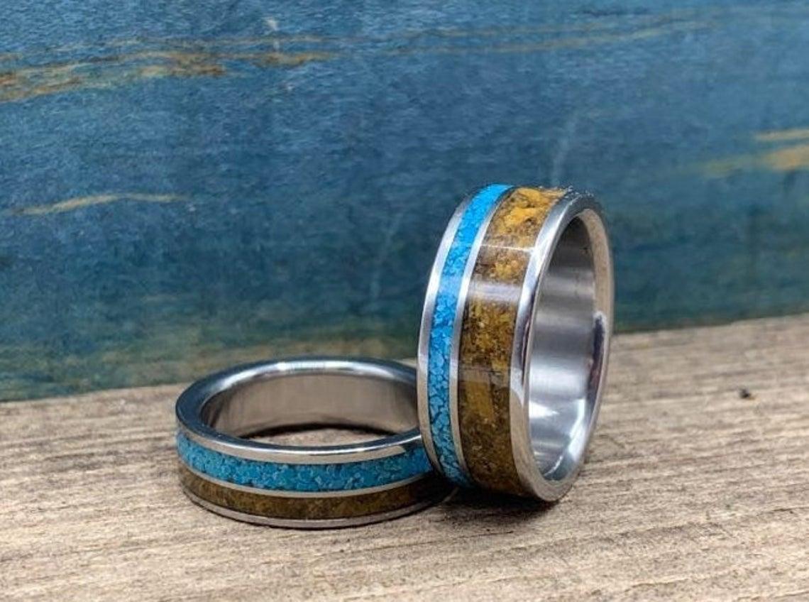 Turquoise and Tigers Eye Wedding Bands