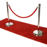 Red carpet and crowd control stanchion rental with red rope.