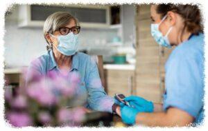 caregiving staff wearing a mask