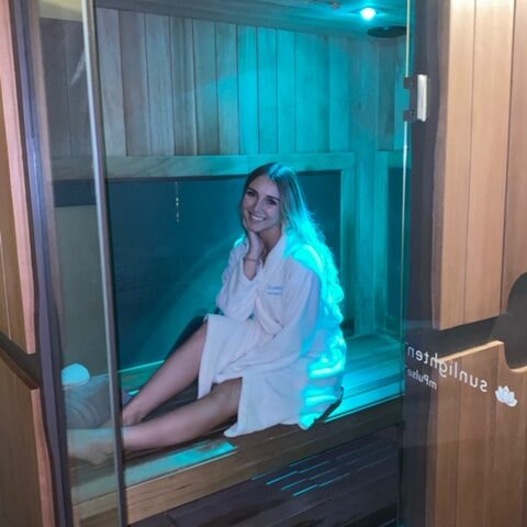 Female in sauna