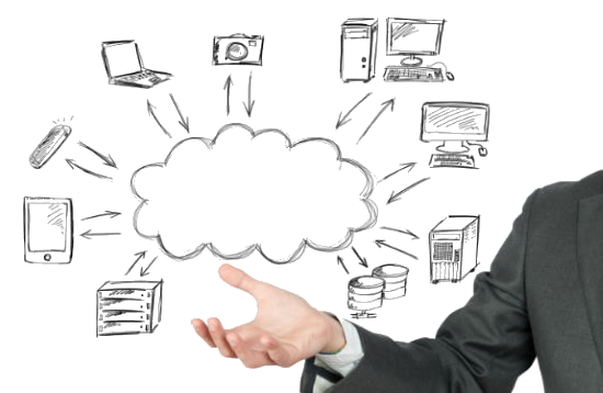 IT professional holding hand-drawn computer networking icons