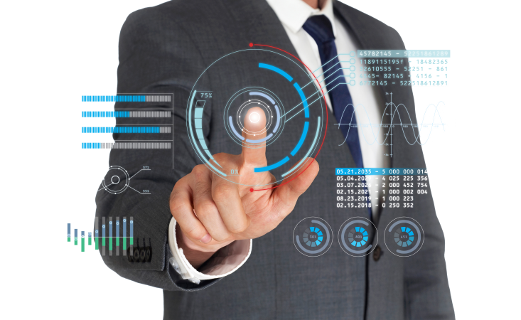 Man pointing to technology solutions icons