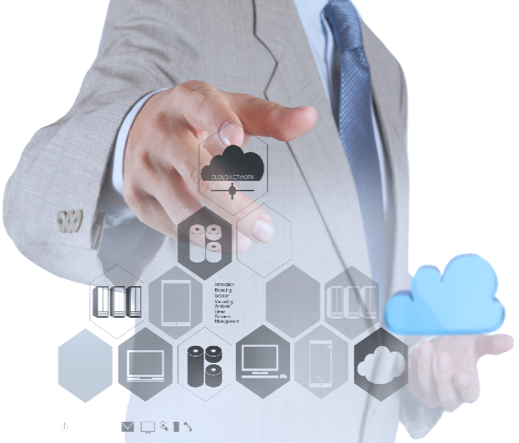Man pointing to cloud network technology solutions
