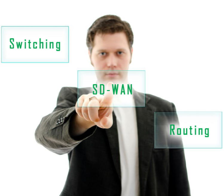 Man pointing to icons including switching, SD-WAN and routing