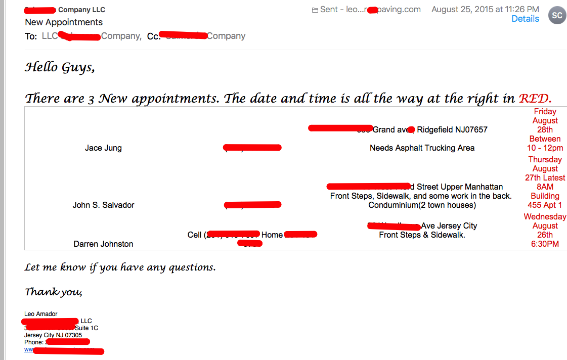 Email Appointment Setting Screen Shot