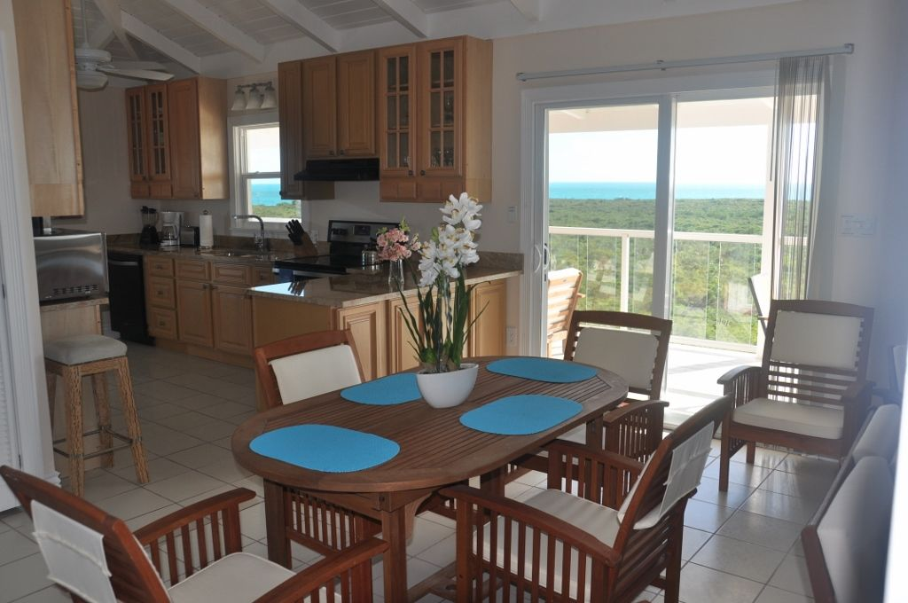 second floor kitchen and dining room with great views