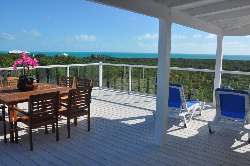 Large second floor balcony for outdoor dining and living