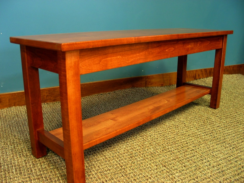 2021-44 Custom Maple Bench with Homestead edges Antique Cherry