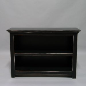 Modified Maple Shaker bookcase with distressed black paint finish 21-4330-12