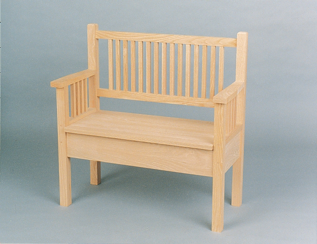 3019-36 Oak Mission Shallow Storage Bench Unfinished