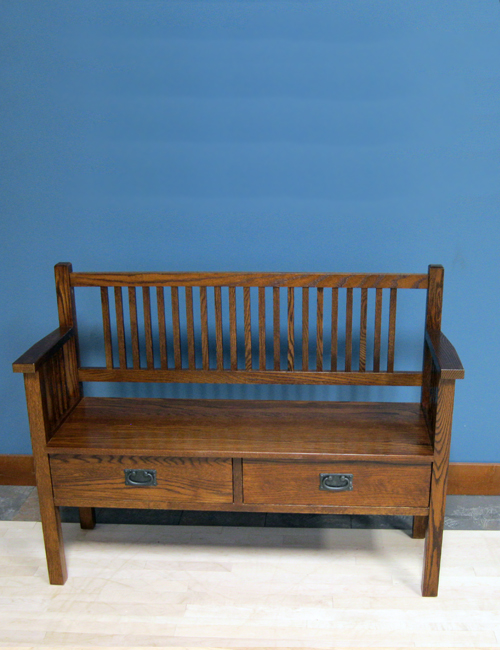 "48"" Modified Oak Mission Shallow Storage Bench Special Walnut Stain"