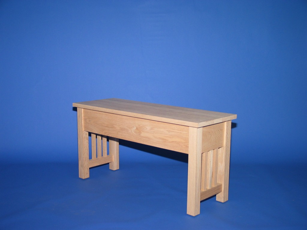 3022-32 Oak Mission Shallow Storage Bench Unfinished