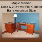 Maple Mission Desk & 2 Drawer File Cabinet w/ Early American Stain