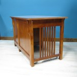 20416-RFB Maple Mission Single Pedestal Desk Right Stack - Antique Cherry Finish side view