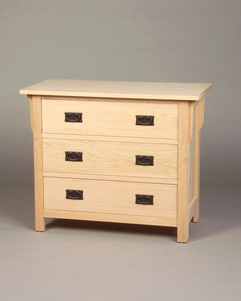 30203 Oak Mission 3 Drawer Chest - Unfinished