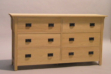 30206-D Red Oak Mission 6 Deep Drawer Dresser - Unfinished