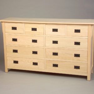 30208-S Red Oak Mission 8 Drawer Split Drawers - Unfinished