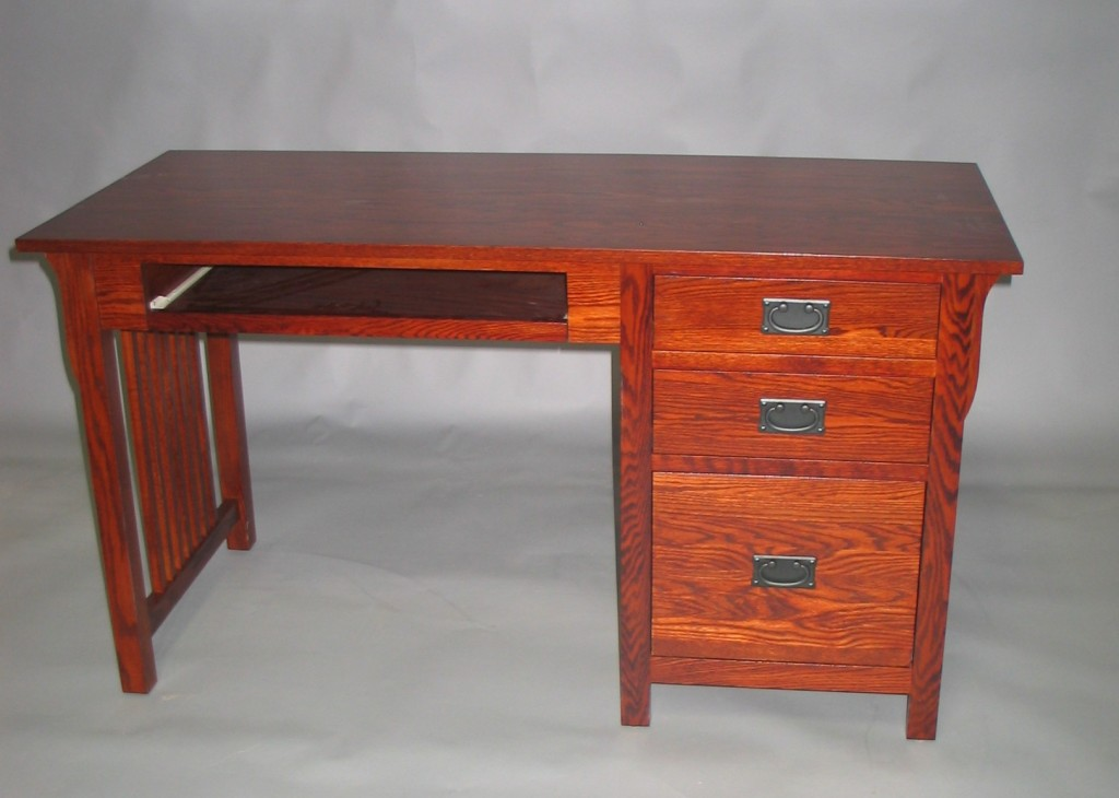 30416-KR Oak Mission Single Pedestal Desk Right Stack Pull Out Tray - Antique Cherry Stain
