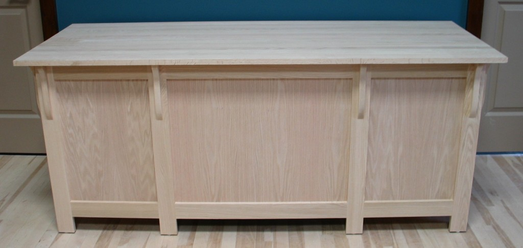 30432 Oak Mission Double Pedestal Desk Corbels on back - Unfinished