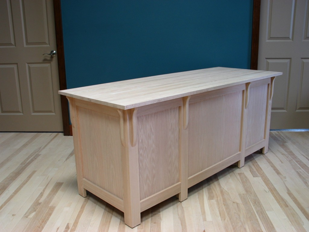 30432 Oak Mission Double Pedestal Desk - Side view - Unfinished