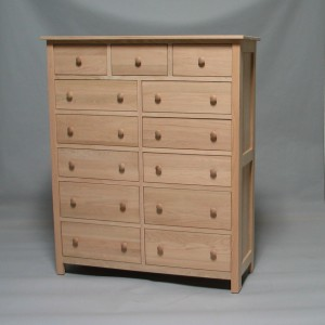 33213-4D Red Oak Homestead 13 Drawer Dresser 4 bottom drawers deep - Unfinished