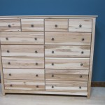61212-S Hickory Shaker 12 Drawer Dresser - Split Drawers Top Row - Clear Coat Only