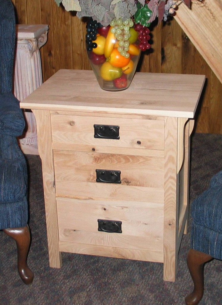 Rustic Oak Mission 3 drawer nightstand - Unfinished close up 30202