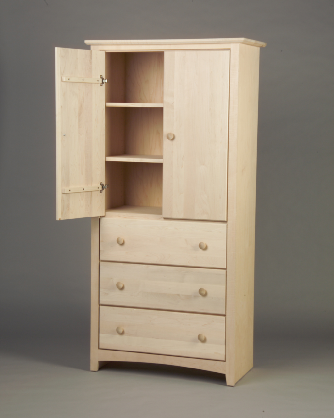 Shaker Maple 3 Deep Drawer Armoire 21223