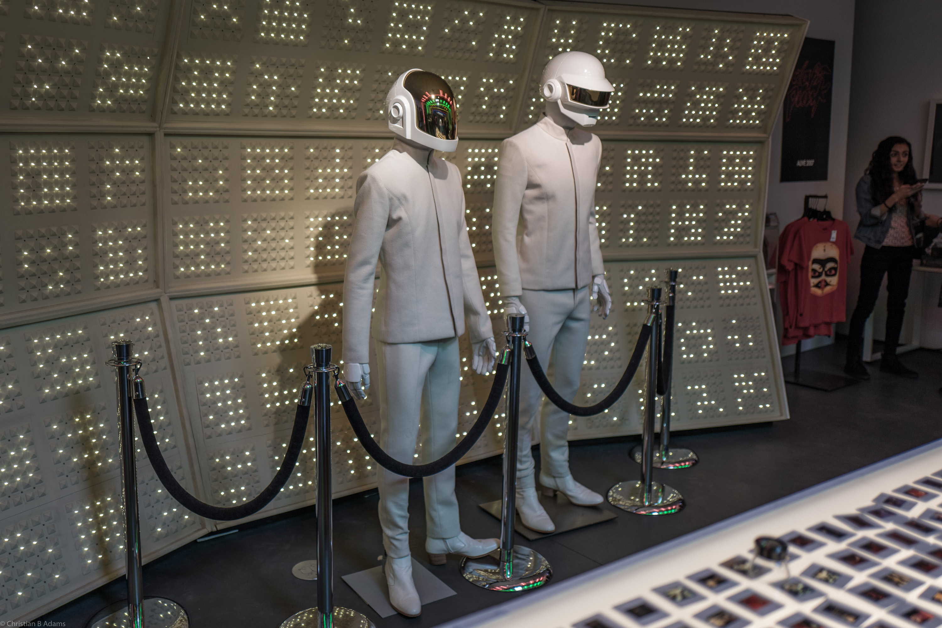 The robots (aka Thomas Bangalter and Guy-Manuel de Homem-Christo) who accepted the Grammy win for Random Access Memories in 2014, on display at the Daft Punk Pop Up at Maxfield Gallery Los Angeles in February of 2017.