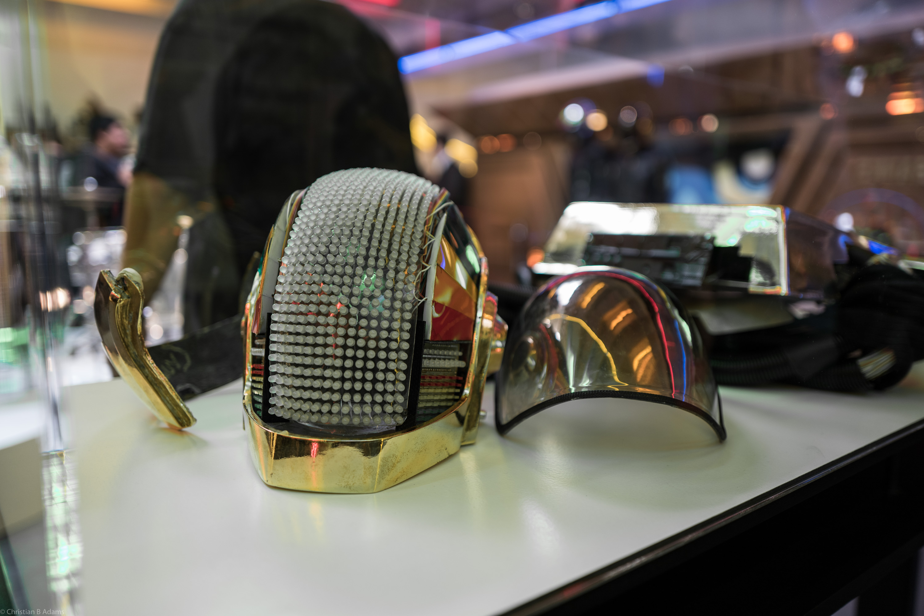 Guy-Manuel de Homem-Christo's Discovery era robot helmet at the Daft Punk Pop Up at Maxfield Gallery Los Angeles in February of 2017.