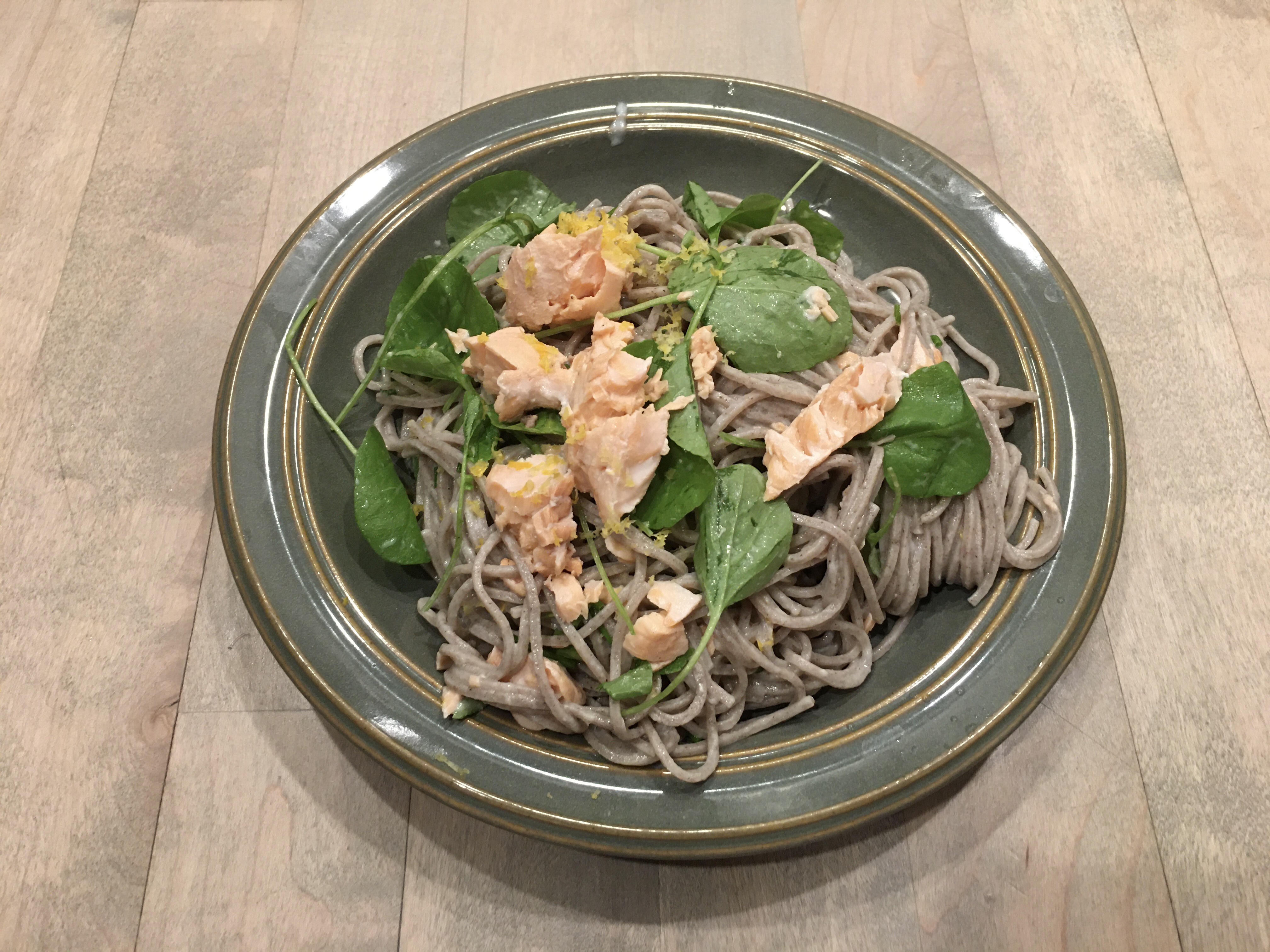 Soba Noodles w/ Salmon & Watercress