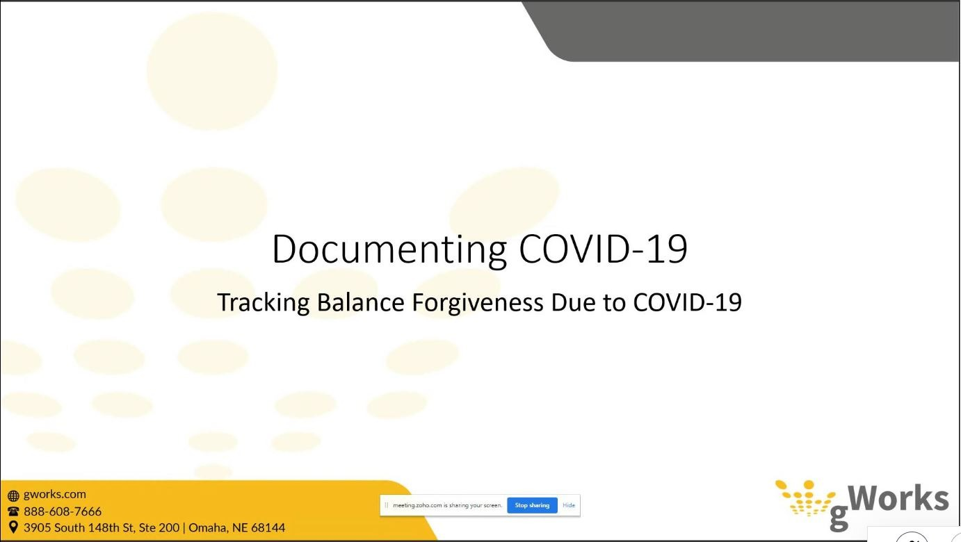 Utility Billing: Tracking Balance Forgiveness Due to COVID-19